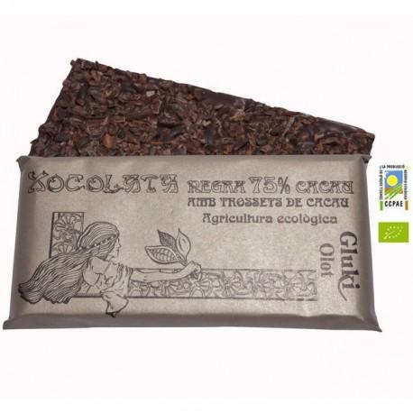 Chocolate negro 75% cacao con trocitos de cacao - 100 gr - Gluki