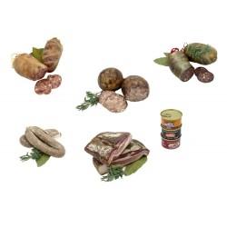 Lot: bull pagès, bull negre, bufa de fetge, tall de panxeta, botifarra de perol i lot de tres patés - Costabona