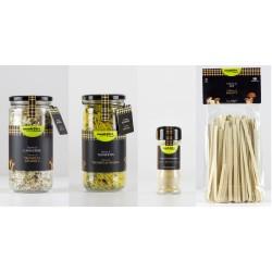 Cistella - 1 risotto (500gr), 1 fideua (350 gr), 1 pot de bolets en pols(20gr), 1 tallarines (250gr) - Monbolet