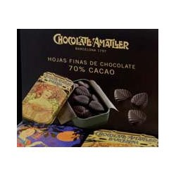 Caja metálica con 40 latas de hojas de chocolate, 40x35 gr - Chocolates Amatller