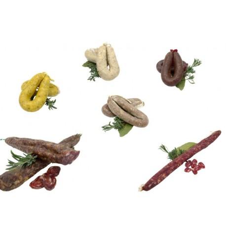 Lot: fuet extra, llonganissa de pagès, 4 botifarres (1 blanca, 1 negre, 1 d'ou, 1 de perol ) - Costabona