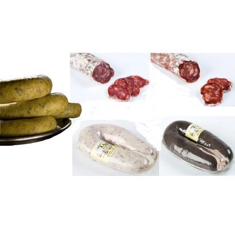 Lot: 1 llonganissa, 1 xoriç , 3 botifarres (blanca, negre i ou) - Cal Xec - Camprodon