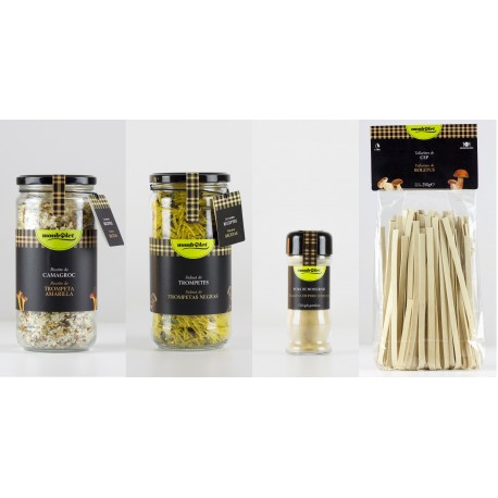 1 risotto (500gr), 1 fideua (350 gr), 1 bote de setas en polvo (20gr), 1 tallarines (250gr) - Monbolet